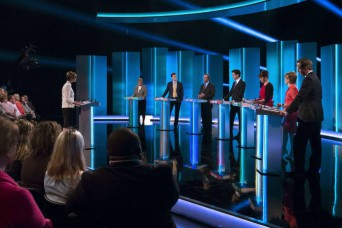 The leaders of seven British political parties, including Prime Minister David Cameron, right, met for a televised debate last week in Salford, England. Credit Ken Mckay/ITV